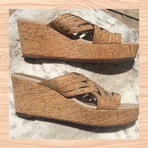 DONALD J. PILNER Flore cork wedge platform sandals